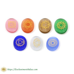 Chakra Engraved Natural Stones Set of 7 1.25-Inch from our famous Metaphysical Supply Boutique Brooklyn NY.